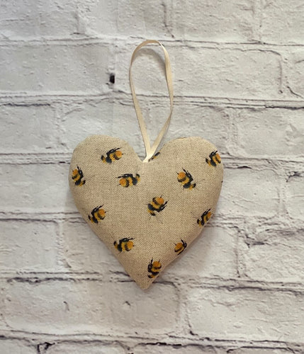 Handmade hanging fabric heart with bee design