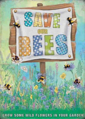 Save the bees - small metal sign