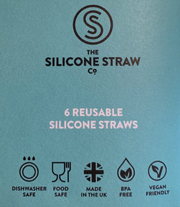 Reusable silicon straws - pack of 6 with cleaning brush