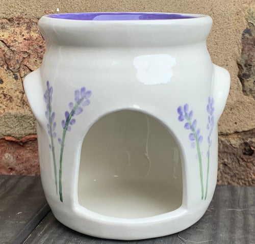 Hand-painted wax melt burner - lavender design (medium)