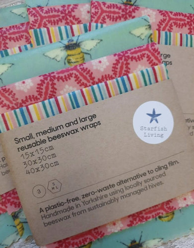 Mixed pack of reusable beeswax wraps - small, medium and large