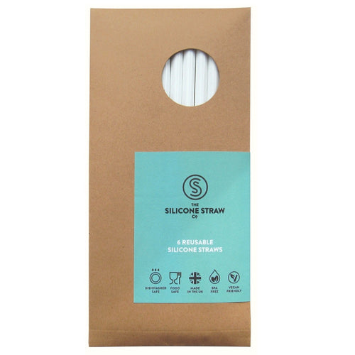Reusable silicone straws - pack of 6 with cleaning brush
