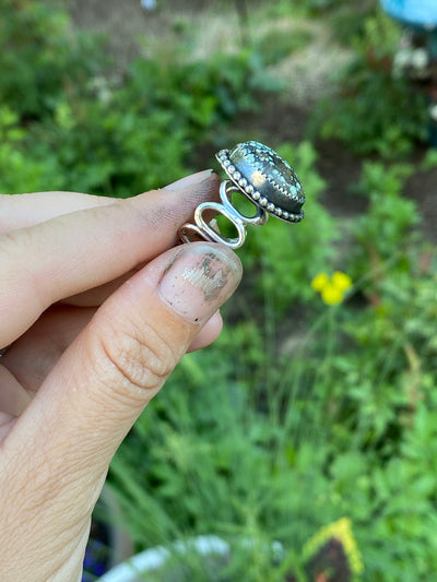 Starfox variscite ring with beaded detail- size 5