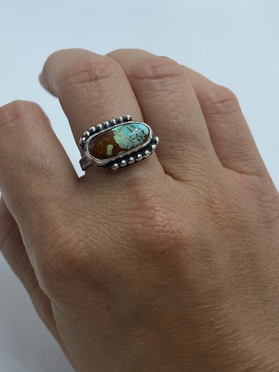 Tyrone turquoise horizontal ring with beaded detail- size 6