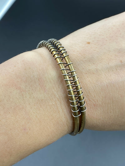 "Brass and sterling ""wired"" cuff- small"
