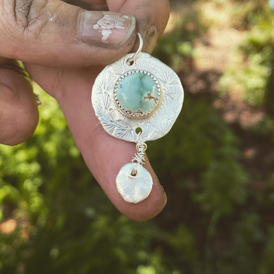 Hand stamped fine silver dream catcher with round Yungai turquoise
