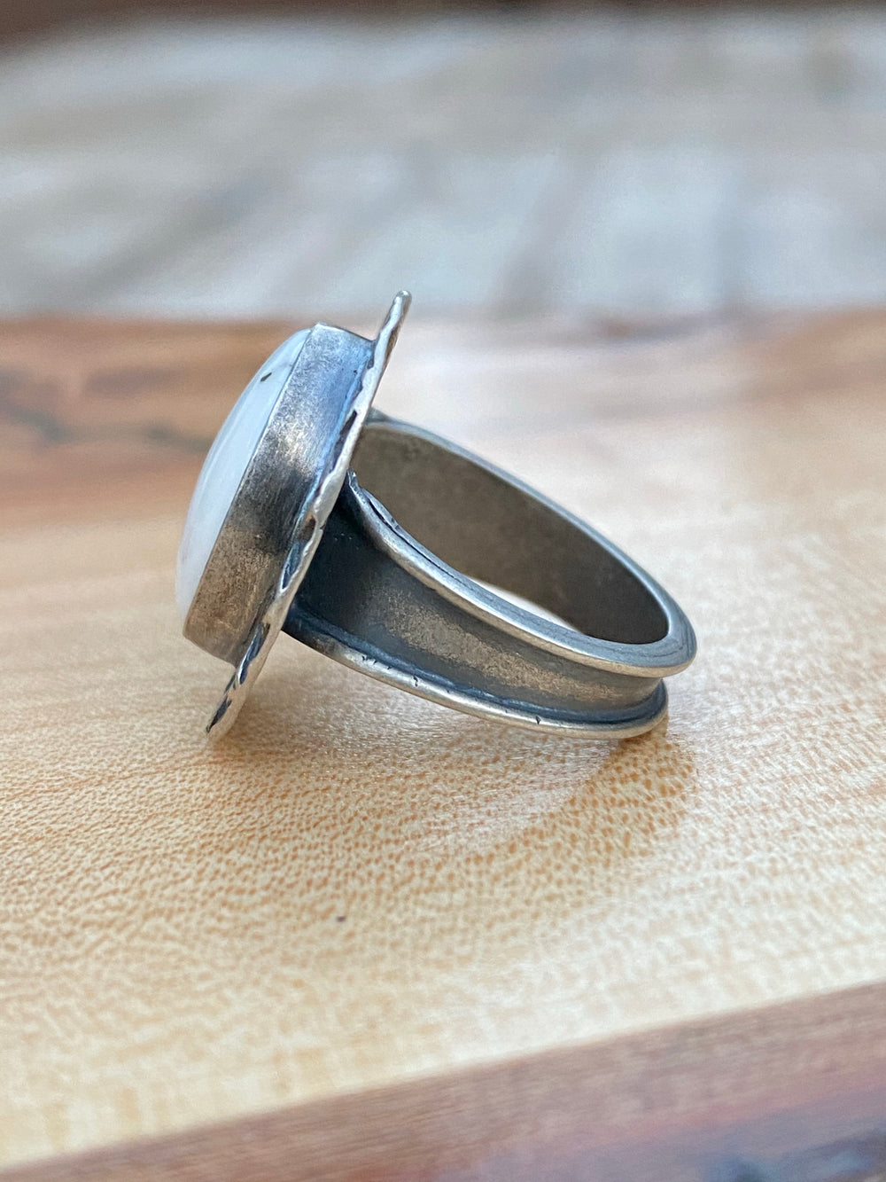 White buffalo ring with stamped detail- oval