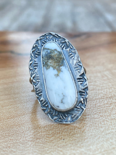Pear shaped white buffalo ring