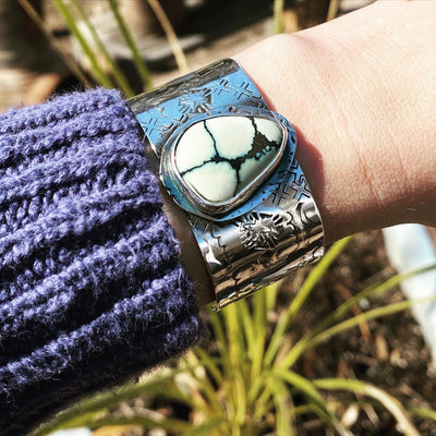 New Lander Turquoise stamped cuff