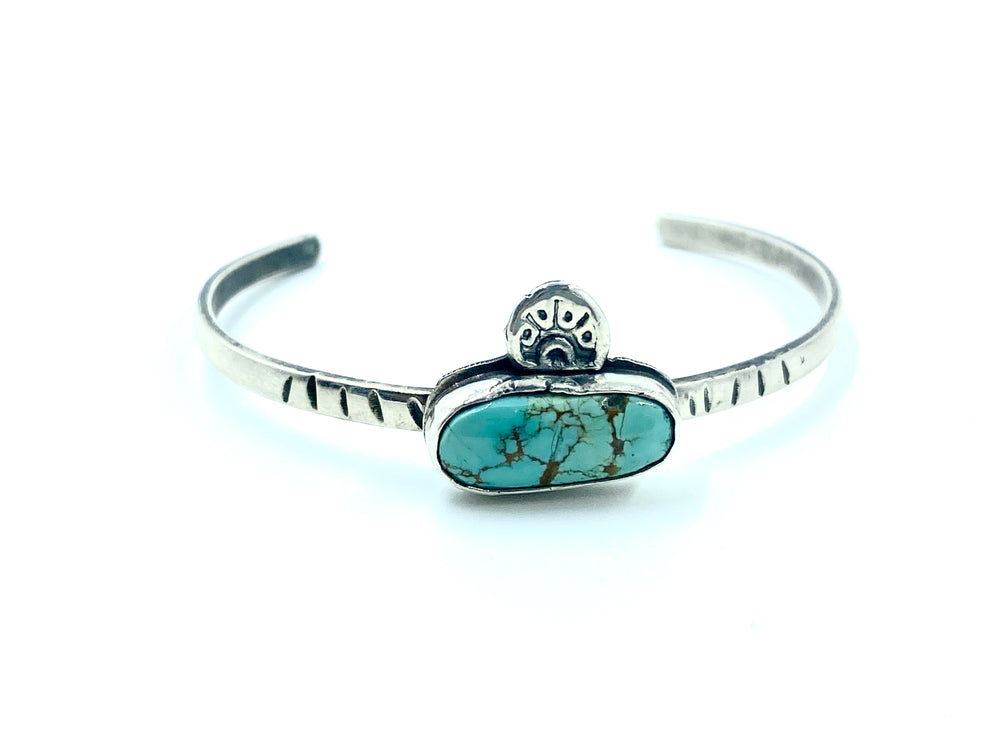 Horizontal Tyrone turquoise cuff with stamped detail