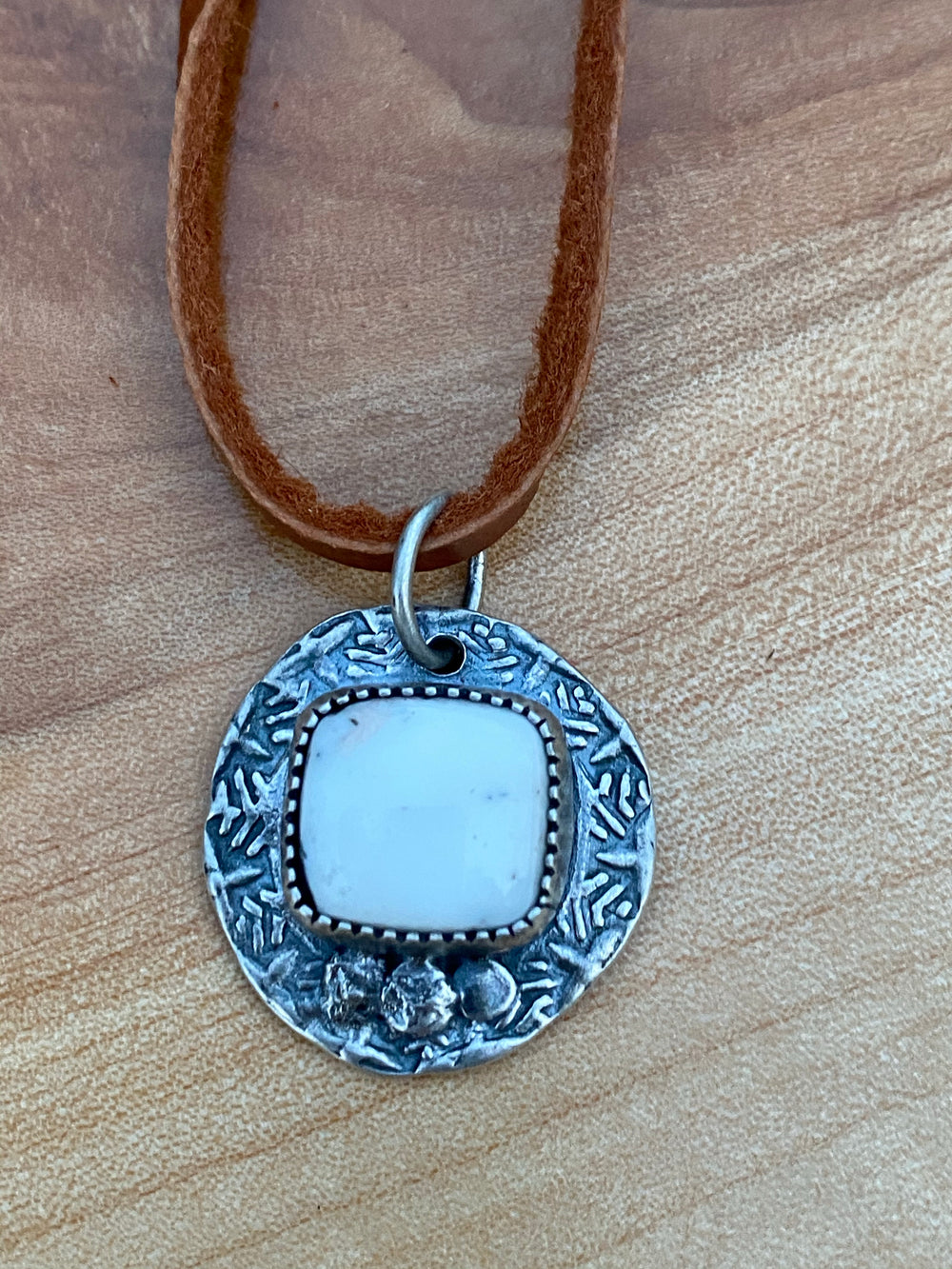 White buffalo stamped pendant- square
