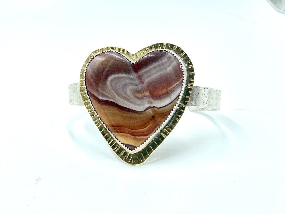 Candy rock jasper heart shaped cuff