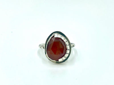 Carnelian stacker ring with hand cut bezel- size 5.5
