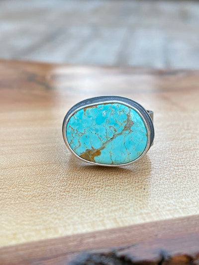 Horizontal #8 turquoise on stamped band