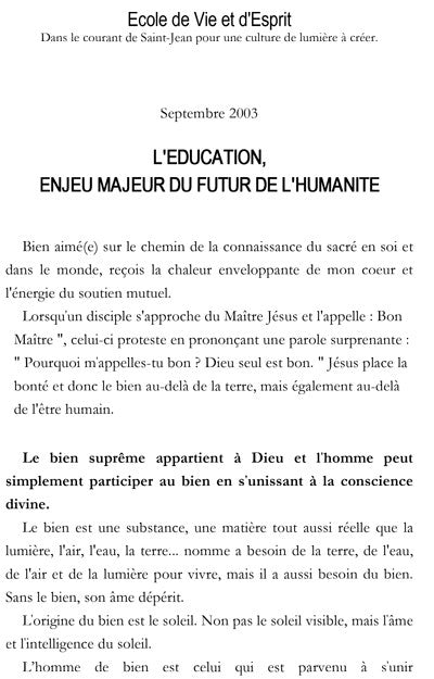 2003 Septembre -  L'EDUCATION, ENJEU MAJEUR DU FUTUR DE L'HUMANITE