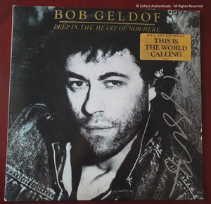 Bob Geldof Autographed Deep In The Heart of Nowhere Record Album COA #BG58963