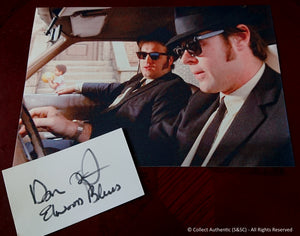 Dan Aykroyd Autographed Index Card + Glossy Blues Brothers 8x10 - COA #DA58790