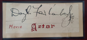 Douglas Fairbanks, Jr. Autographed Vintage Signature Cut COA #DF14698