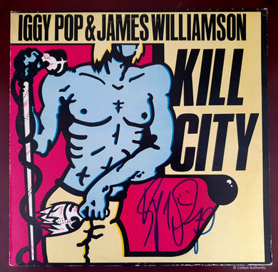 IGGY POP Autograph KILL CITY LP COA #IP29874