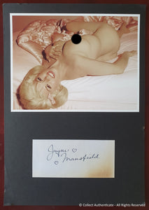 Jayne Mansfield Autographed Vintage Signature Card Matted With Glossy Photo COA #JM59962