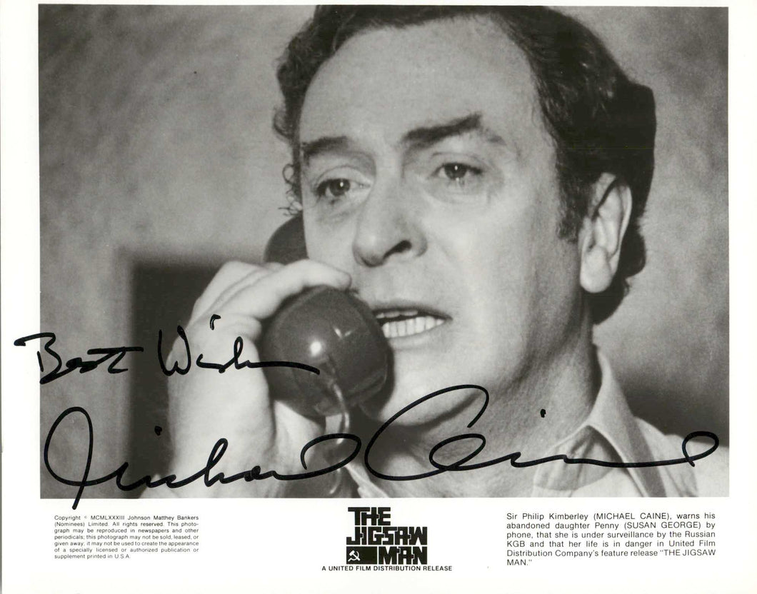 Michael Caine Autographed Vintage Glossy 8x10 Photo - COA #MC58867