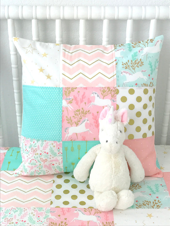 Blush Pink, Mint and Gold Unicorn Pillow Cover