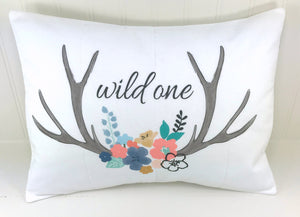 """Wild One"" Antlers and Flowers, Deer Pillow Cover"