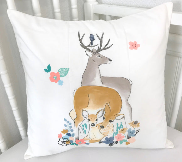 Deer Family and Flowers Pillow Cover