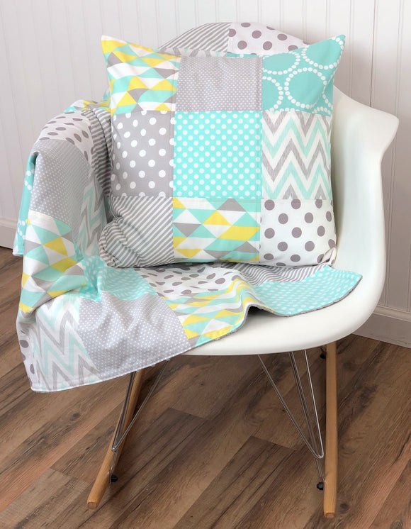 Baby Blanket, Crib Bedding, Patchwork Baby Quilt - Mint, Gray and Yellow - CLEARANCE