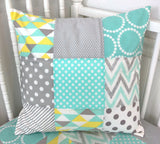 Pillow Cover, Baby Nursery Decor, Decorative Pillows - Mint, Gray and Yellow