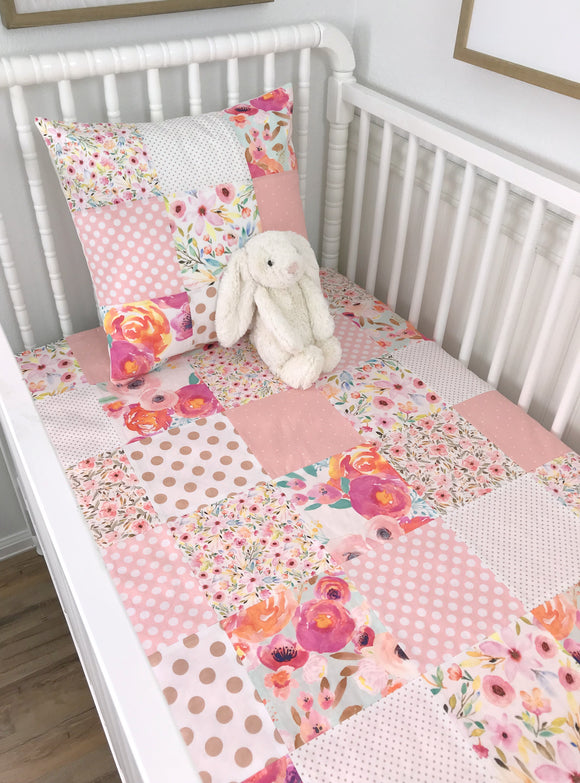 Watercolor Floral Baby Girl Blanket, Girl Nursery Decor, Floral Crib Bedding - Blush Pink and Rose Gold Watercolor Flowers