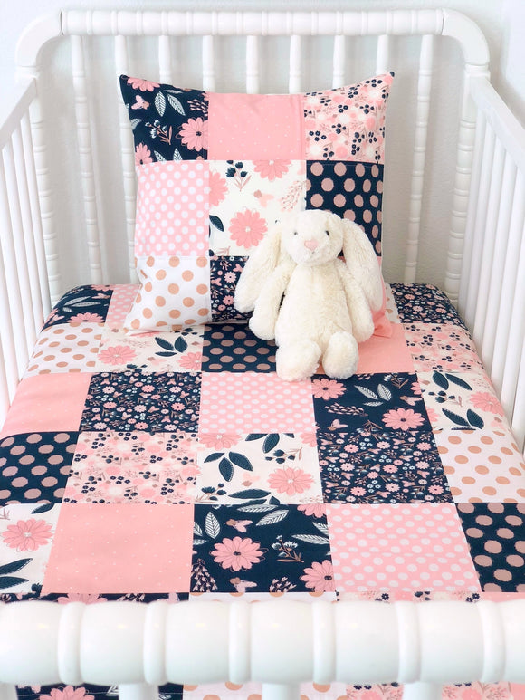 Blush Pink, Navy Blue and Rose Gold Baby Girl Blanket