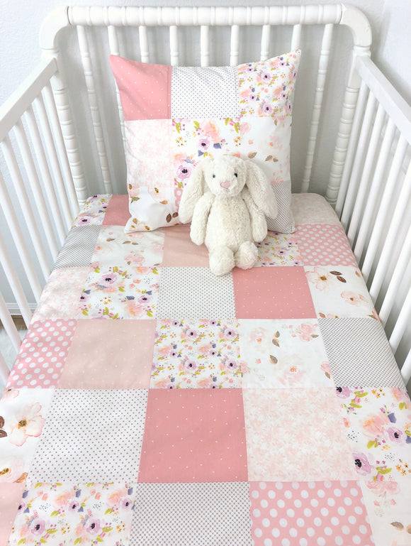 Watercolor Floral Baby Girl Blanket, Crib Bedding, Baby Quilt - Blush Pink, Rose Gold and Lavender Watercolors