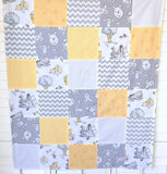 Winnie the Pooh Baby Blanket, Winnie the Pooh Nursery Decor, Baby Shower Gift - Pooh Bear, Tigger and Eeyore in Yellow and Gray