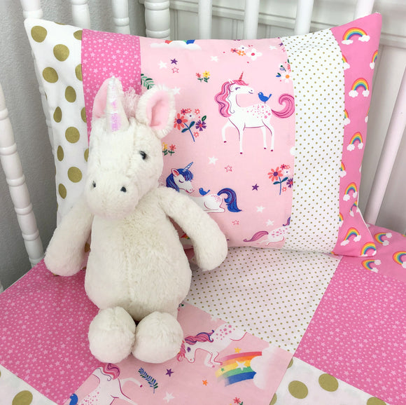 Pink and Gold Unicorns and Rainbows Pillow Cover - 12 x 16 Inches