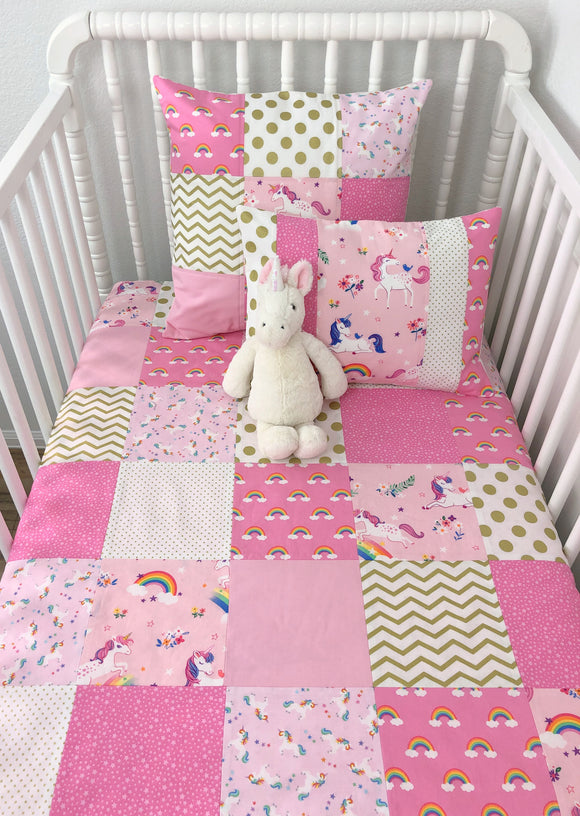 Pink and Gold Rainbow and Unicorn Baby Blanket