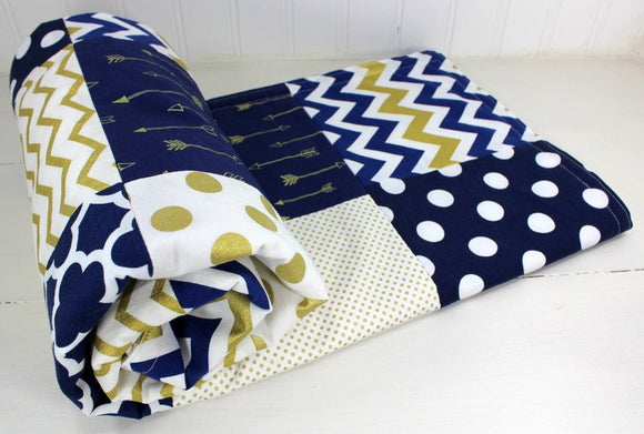 Gold and Navy Arrow Baby Blanket