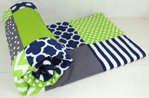 Lime Green, Navy Blue and Gray Baby Blanket