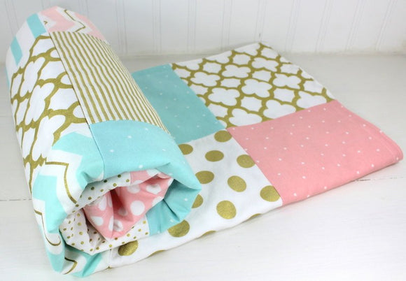 Blush Pink, Aqua and Gold Baby Blanket