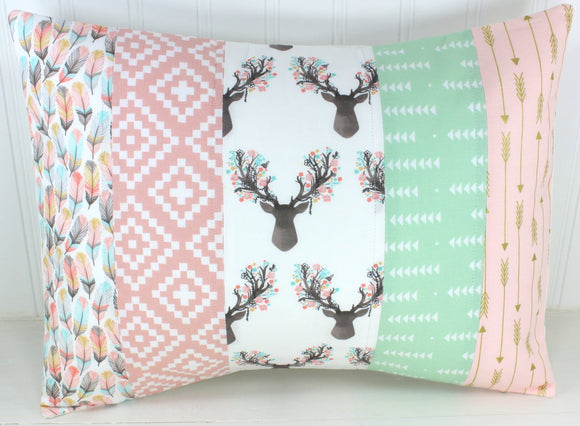 Blush and Mint Woodland Fawn Pillow Cover