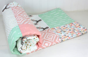 Mint, Blush and Gold Woodland Girl Baby Blanket