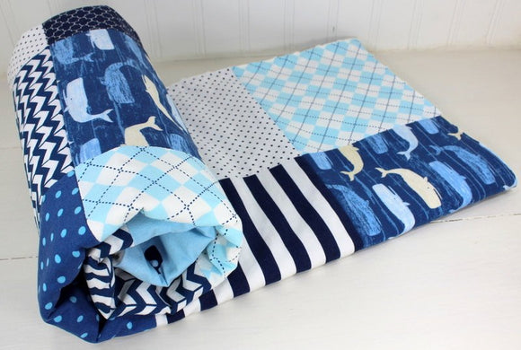 Navy and Light Blue Whale Baby Blanket - CLEARANCE