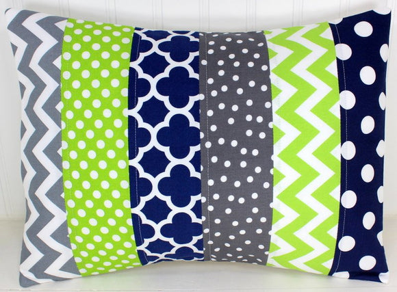 Navy Blue, Lime Green and Gray Pillow Cover