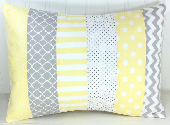 Light Yellow and Gray Pillow Cover