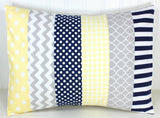 Light Yellow, Navy Blue and Gray Pillow Cover