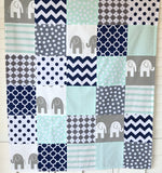 Mint, Navy and Gray Elephant Baby Blanket