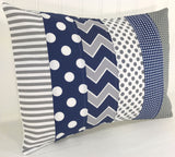 Navy Blue and Gray Chevron Pillow Cover