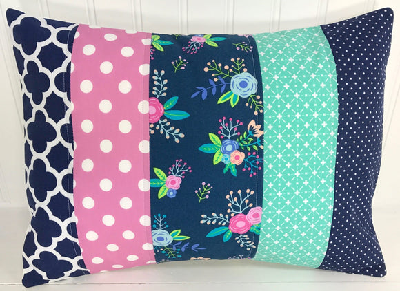 Navy Floral Pillow Cover
