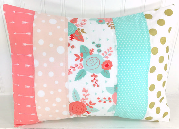 Blush, Mint and Gold Floral Pillow Cover