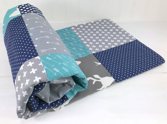 Teal, Navy and Gray Woodland Baby Blanket